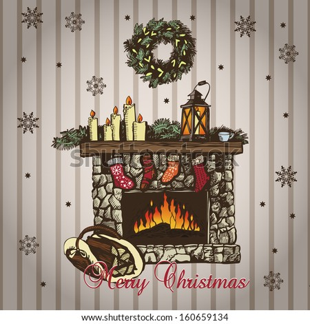 Christmas card with fireplace in vintage style - stock vector