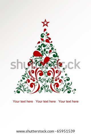 christmas card with floral tree - stock vector