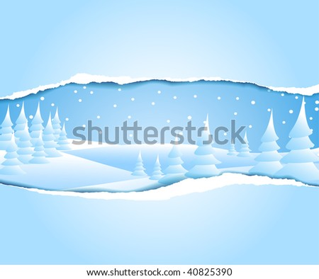 Christmas card with frosty snowy winter landscape