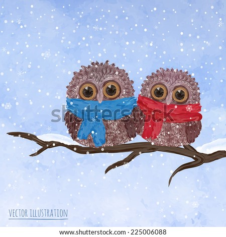Christmas card with funny owls on a winter tree. Vector background - stock vector