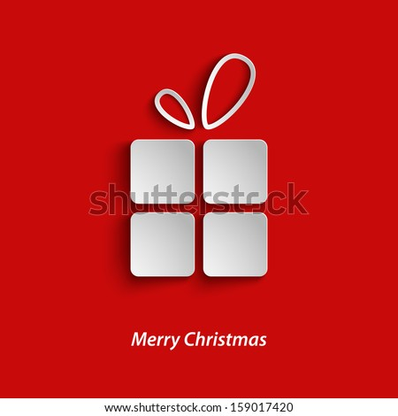 Christmas card with gift on red background