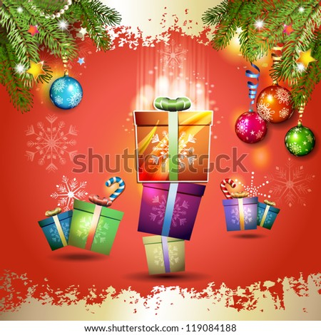 Christmas card with gifts box over red background