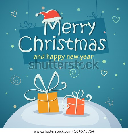Christmas card with gifts eps10 illustration - stock vector