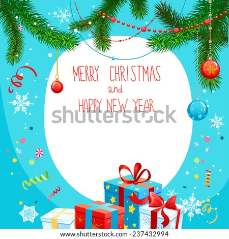 Christmas card with gifts. Holiday background with place for text. - stock vector