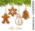Christmas card with gingerbread cookies hanging on Christmas tree - stock vector