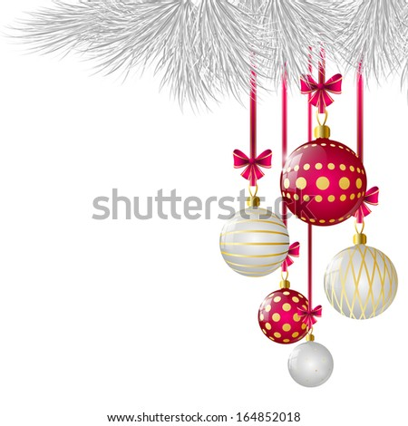 Christmas card with glossy balls