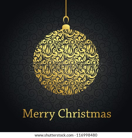 Christmas card with gold ball on black background with swirls - stock vector