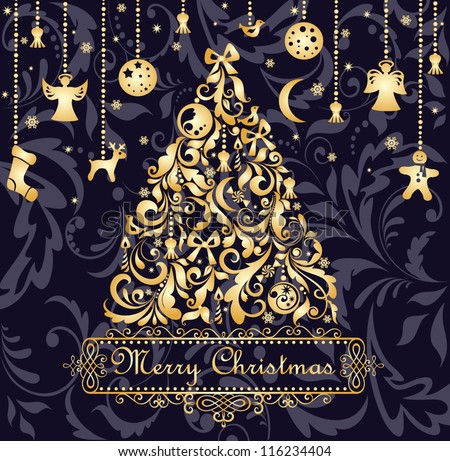 Christmas card with gold xmas tree - stock vector