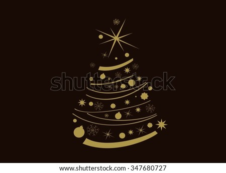 Christmas card, with graphic Christmas tree, Christmas tree with snowflakes vector illustration. Template for Greeting Scrap booking, Invitations.