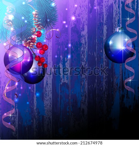 Christmas card with grunge wood background - stock vector