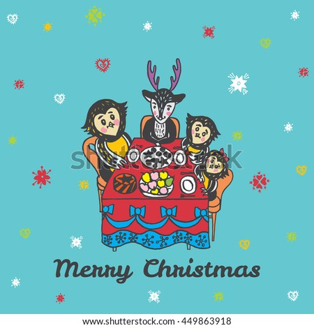 Christmas card with hand drawn animals. Vector hand drawn illustration of Reindeer and Owls characters on blue background. - stock vector