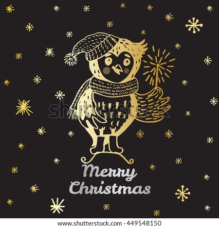 Christmas card with hand drawn Owl. Vector hand drawn illustration of Owl character on black background. - stock vector