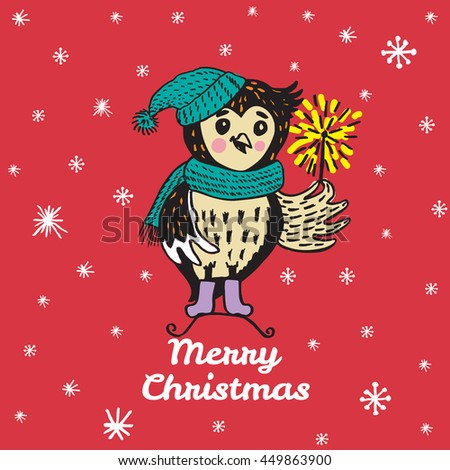 Christmas card with hand drawn Owl. Vector hand drawn illustration of Owl character on red background. - stock vector