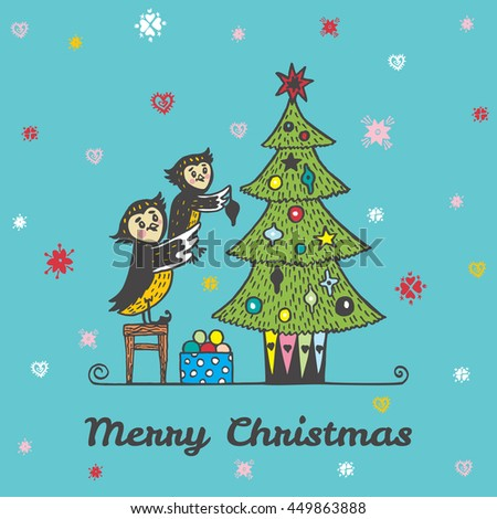 Christmas card with hand drawn owls decorating a Christmas tree. Vector hand drawn illustration of Owl characters on blue background. - stock vector