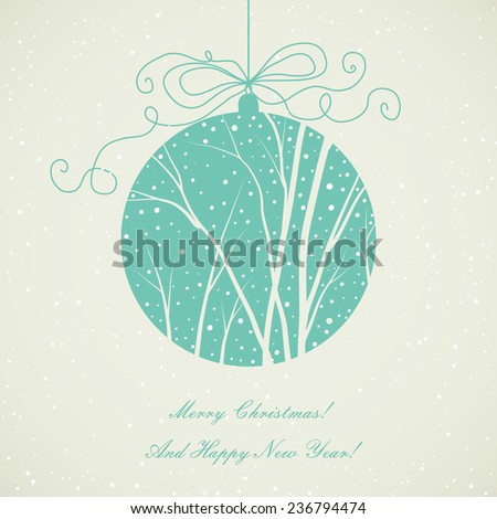 christmas card with hanging ball and winter landscape - stock vector