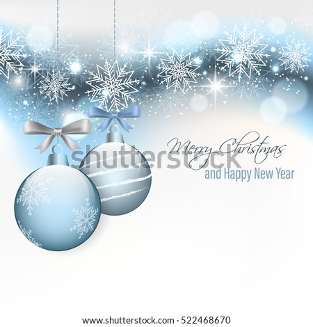 Christmas card with hanging baubles, snowflakes, stars, glitter and blurred circles. Happy New Year vector illustration.