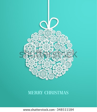 Christmas card with hanging toy made of paper snowflakes. Vector illustration. - stock vector