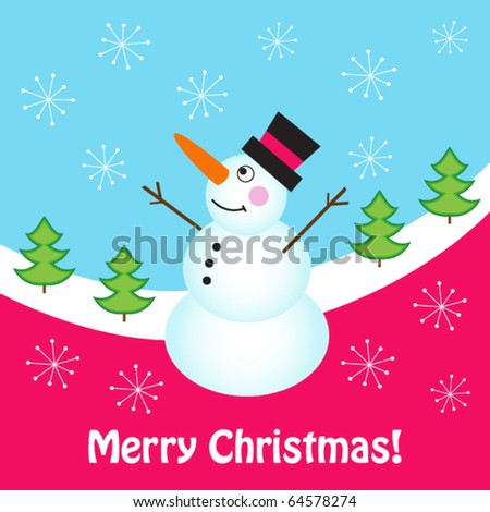 Christmas card with happy snowman