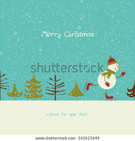 Christmas card with happy snowman on falling snow background. - stock vector