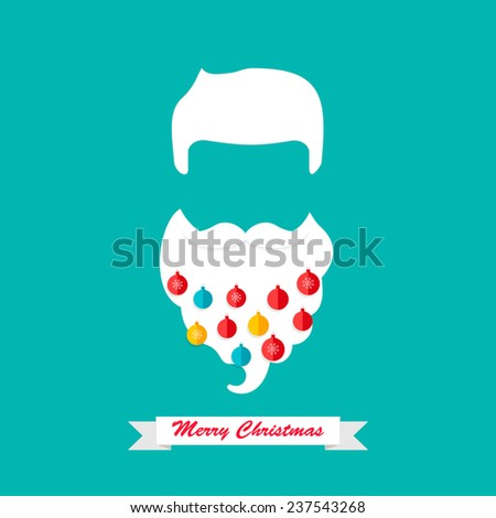 Christmas card with hipster Santa Claus  mustache and beard with beard baubles, vector illustration  - stock vector