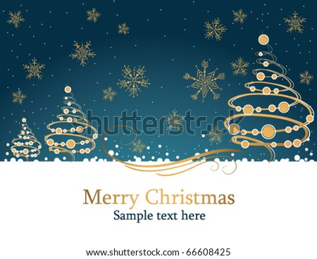 christmas card with holiday tree - stock vector
