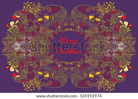 Christmas card with Merry Christmas text with decorations. Nature Floral ornament as a snowflake circle silhouette: berry, flower. Brown, blue, teal red yellow violet purple colors. Vector eps10. - stock vector