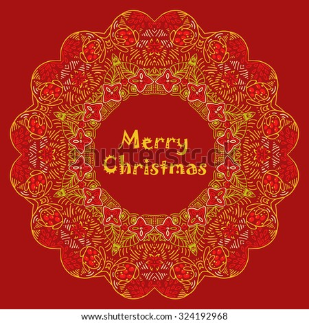 Christmas card with Merry Christmas text with decorations. Nature Floral ornament as snowflake circle silhouette with berry, flower. Red, orange, green,carrot, yellow colors. Vector illustration eps10 - stock vector