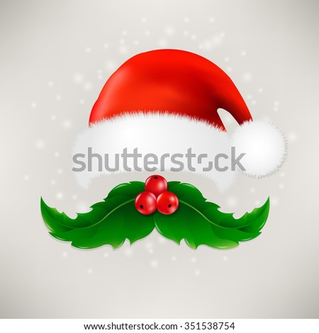Christmas Card With Moustaches And Santa Claus Cap With Gradient Mesh, Vector illustration - stock vector