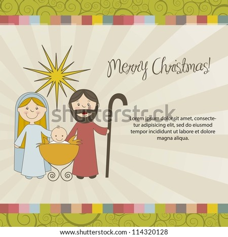 christmas card with nativity scene, vintage style. vector - stock vector