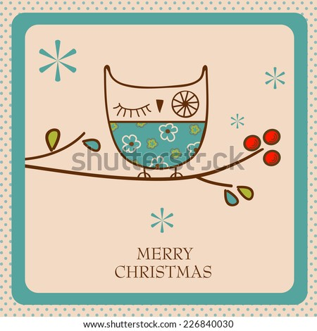 christmas card with owl - stock vector