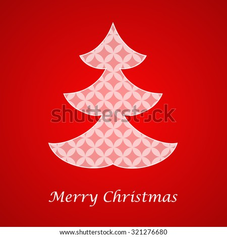 Christmas card with paper decoration tree  - stock vector