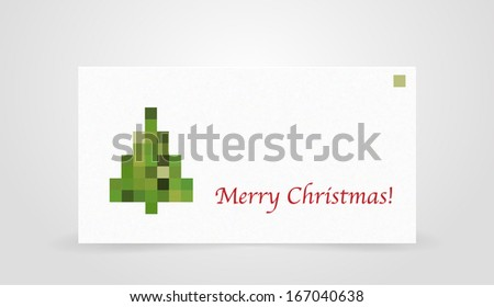 Christmas Card with pixel tree - stock vector