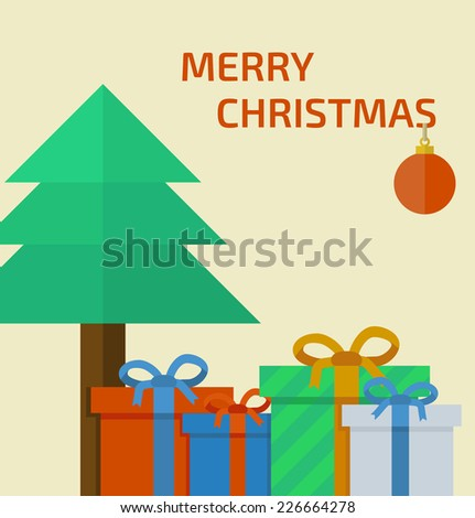 Christmas card with presents and christmas tree in flat design. Vector illustration - stock vector