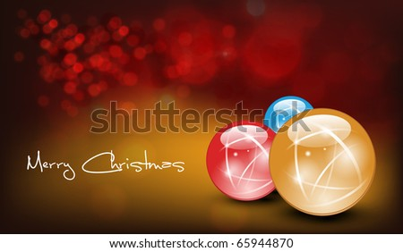 Christmas Card with Realistic Balls and Shiny Wet Drops. Vector Illustration - stock vector