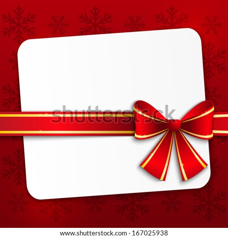 Christmas card with red ribbon - stock vector