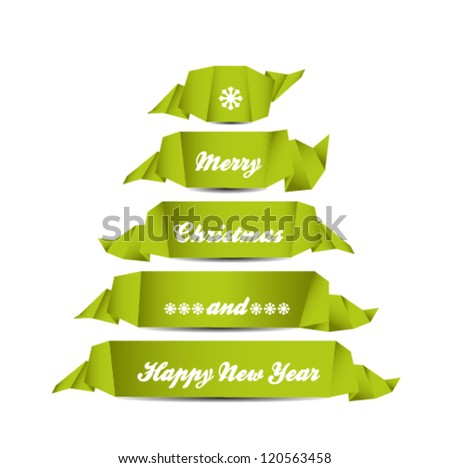 Christmas card with ribbons, Tree shaped - stock vector