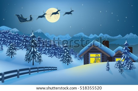 Christmas card with Santa and reindeers on winter forest background