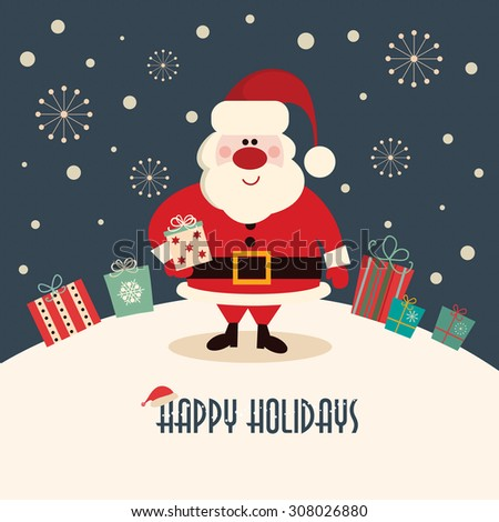 Christmas card with Santa Christmas card with Santa on a winter background - stock vector