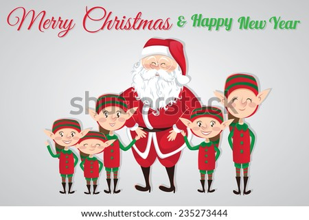 Christmas card with Santa Claus and elves - stock vector