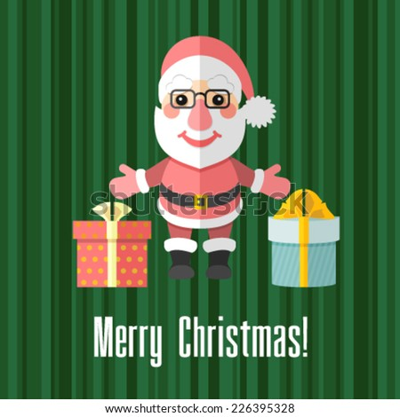 Christmas card with Santa Claus and presents - stock vector
