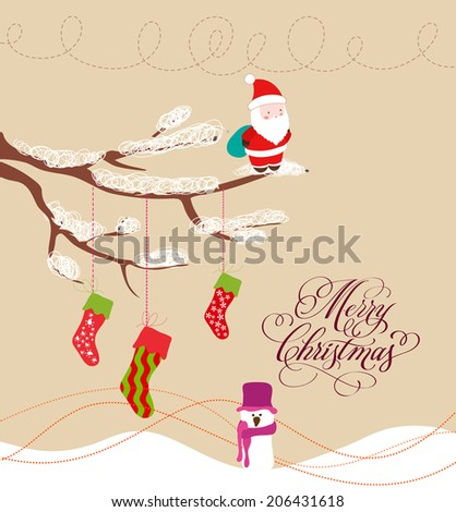 Christmas Card with Santa Claus and snowman - stock vector
