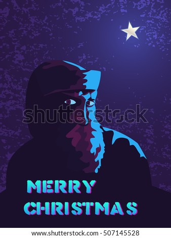 Christmas card with Santa Claus and star.Vector illustration in the style of eighties.
