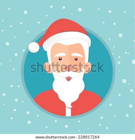 christmas card with santa claus - flat design vector  - stock vector