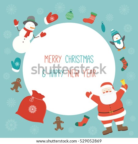 christmas card with santa claus template with copy space vector illustration