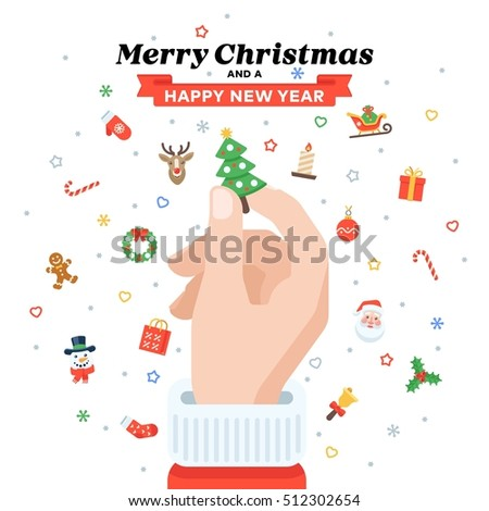 Christmas card with Santa's hand holding fir tree. Flat design. Christmas traditional decoration elements for greeting card, banners, websites, infographics.