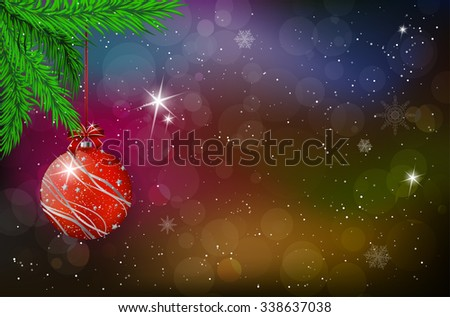 Christmas card with shiny red christmas ball and spruce twig on snowy blurred bokeh background - place for your text. Vector illustration. - stock vector