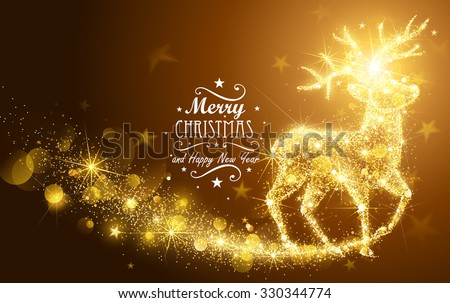Christmas card with silhouette Magic Deer and flickering lights. Vector illustration - stock vector