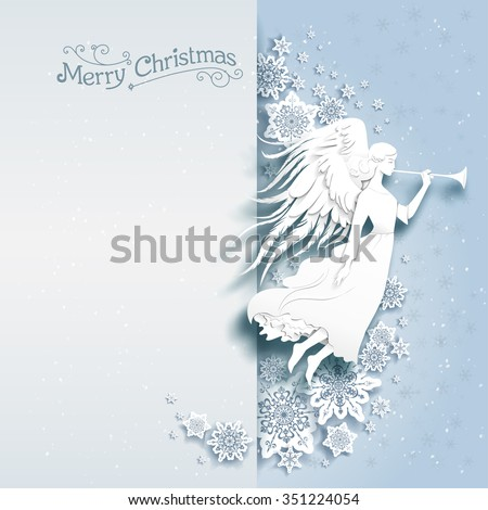 Christmas card with silhouette of an angel on a snowy background. Luxury Christmas design for card, banner,ticket, leaflet and so on. - stock vector