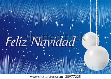 Christmas card with silver balls and ribbons - Spanish