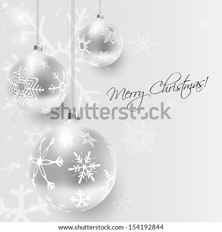 Christmas card with silver decorated balls in white, vector illustration - stock vector
